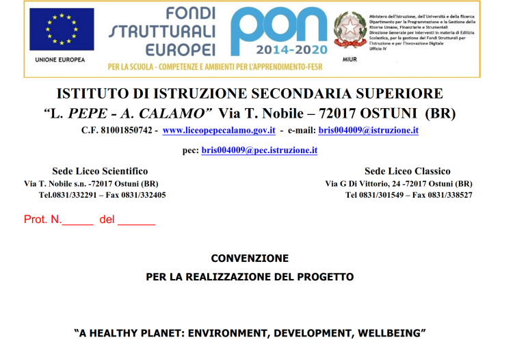 PROGETTO PON A HEALTHY PLANET:ENVIRONMENT, DEVELOPMENT, WELLBEING
